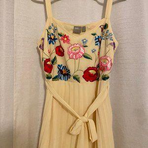 ASOS Midi Dress - Embroidered top pleated skirt